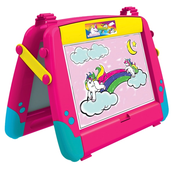 There are four sides to this easel and it comes with chalk and an eraser