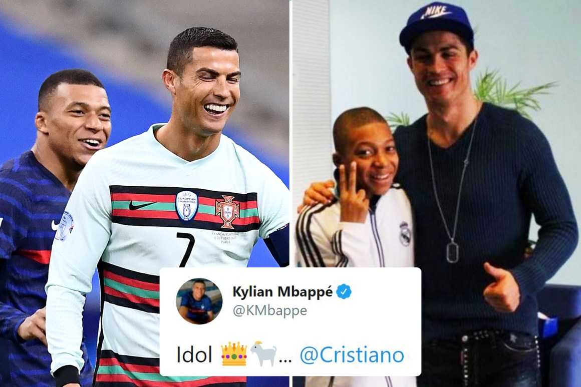 Cristiano Ronaldo in touching moment with Kylian Mbappe as Frenchman calls  Portugal icon 'GOAT and idol' ahead of Messi