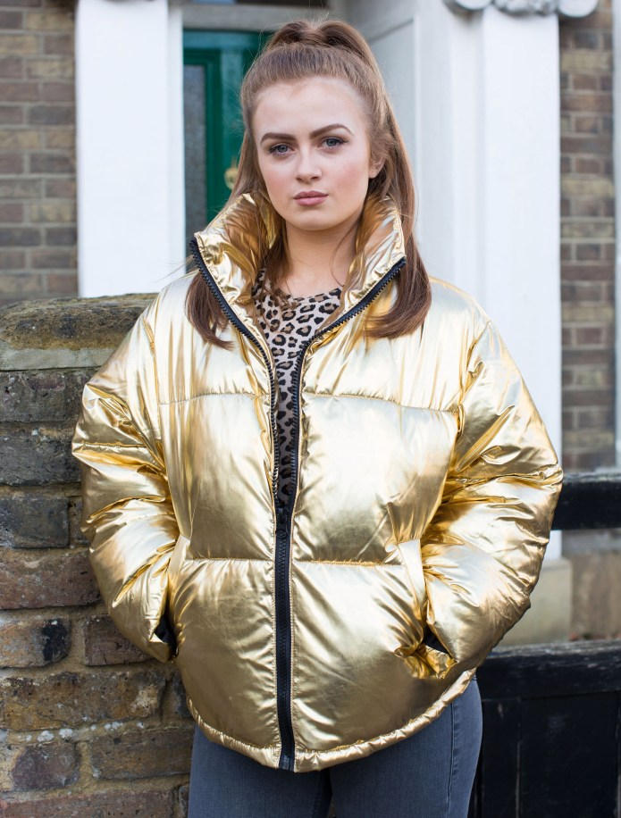 The gold coat was a key part of Tiffany's wardrobe on EastEnders