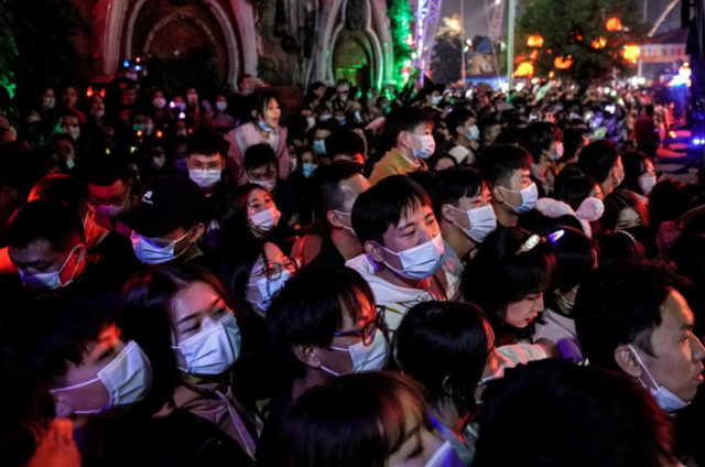 A handful of people wore masks while some of them wore it under their chin