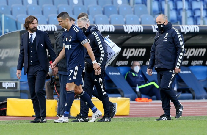 Cristiano Ronaldo hobbled off the field in the second half