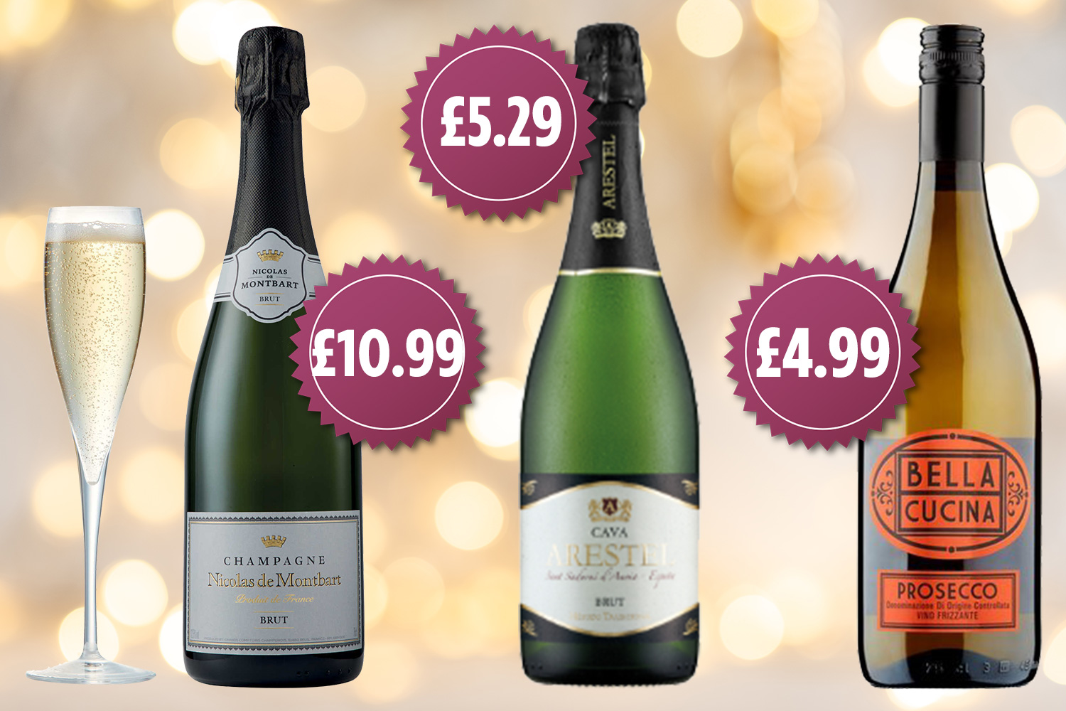 Here are the current cheapest supermarket prices for champagne, cava and prosecco