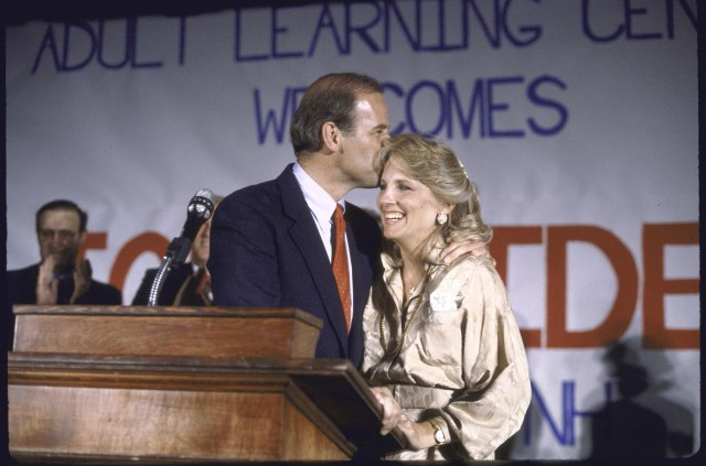 A kiss for second wife Jill in 1988