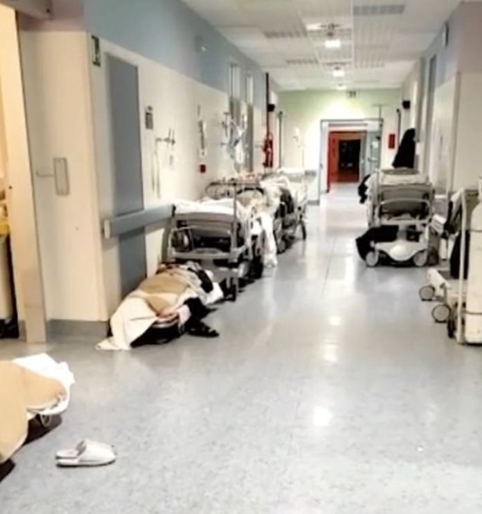 Lombardy hospitals are overwhelmed as patients are treated in hallways
