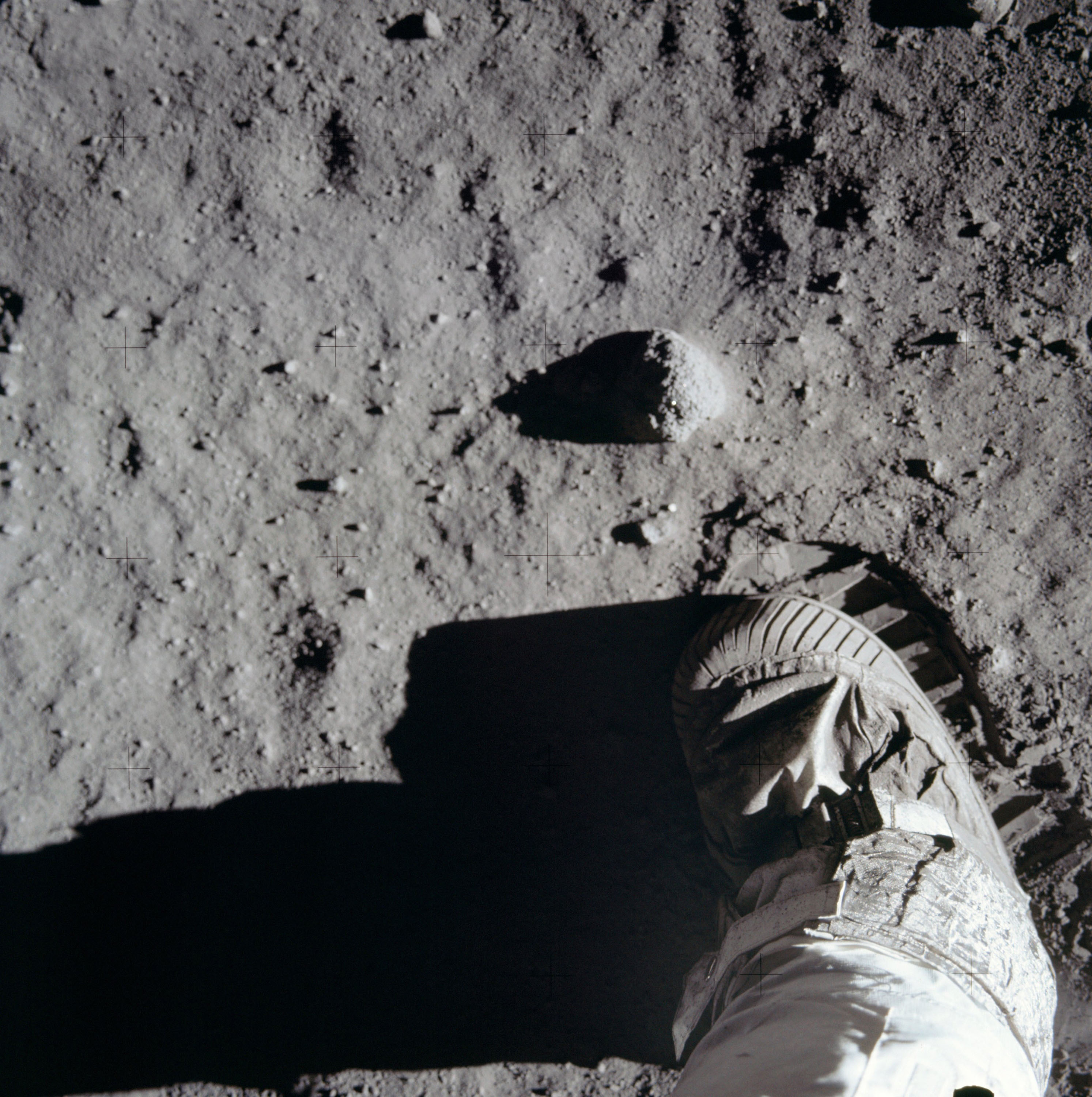 The boot of an Apollo 11 astronaut on the surface of the Moon in 1969
