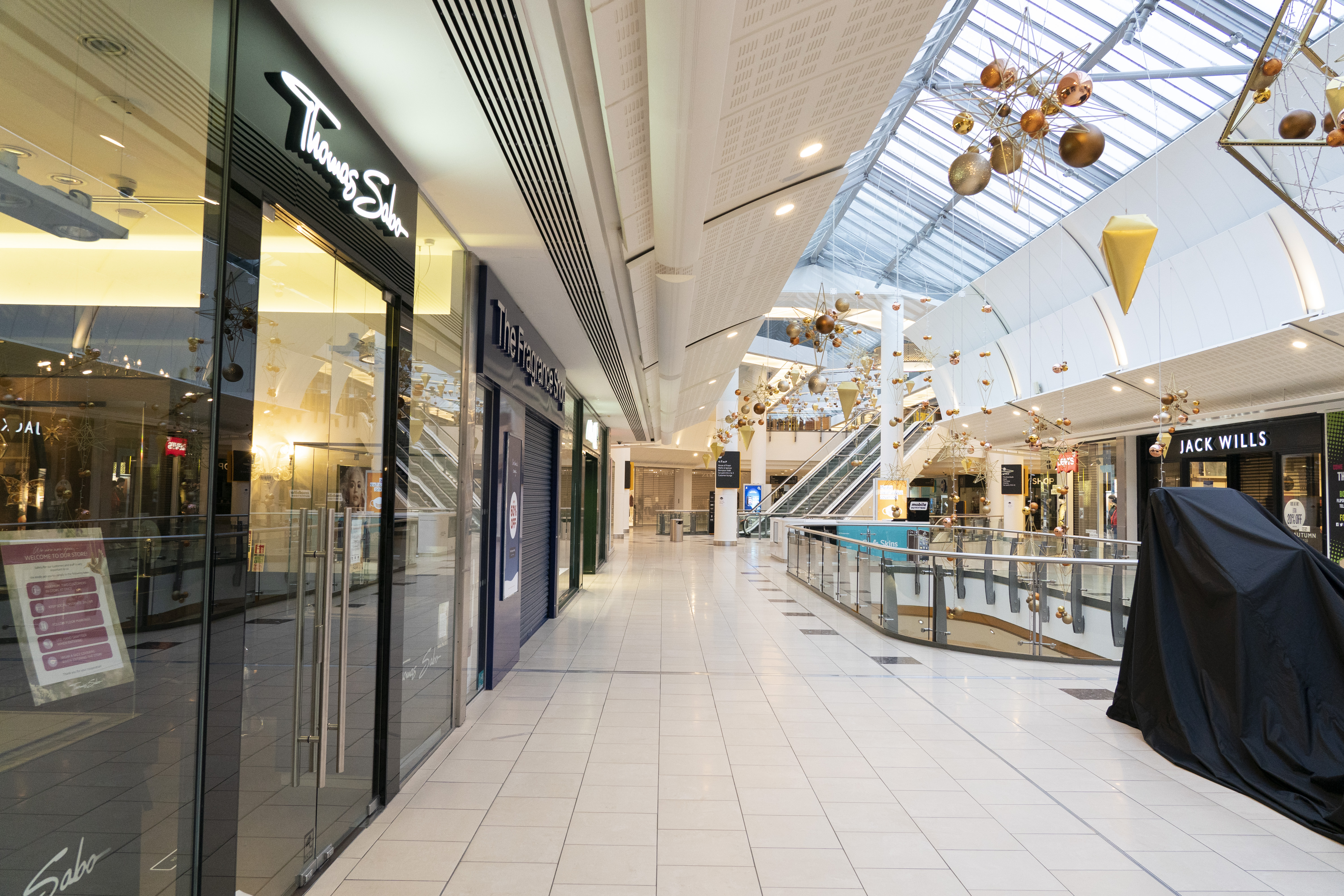 Lakeside shopping centre, meanwhile, was empty today