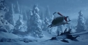The pair can be seen flying through the snow