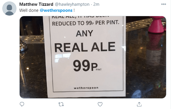Punters tweeted their excitement at the offer in their locals