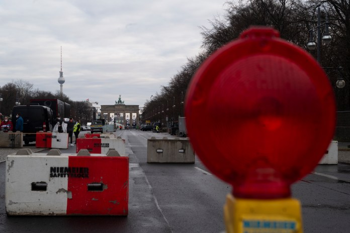 The boulevard is the main place for New Year's celebration in the German capital but because of the pandemic, all public celebrations are banned