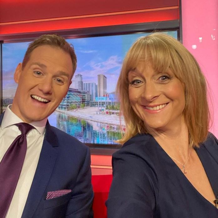 Louise Minchin with her co-host BBC Breakfast co-host Dan Walker