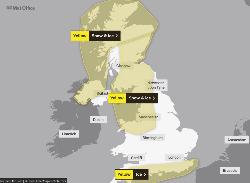 The Met Office has issued yellow warnings for snow and ice