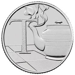 This 10p coin features a cup of tea and is part of the A-Z collection