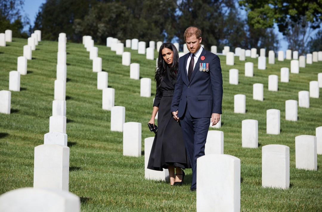 Harry and wife Meghan Markle laid a wreath at the Los Angeles National Cemetery instead