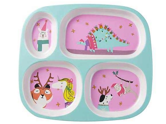 Parents may want to check out this Christmas-inspired divider plate for the kids
