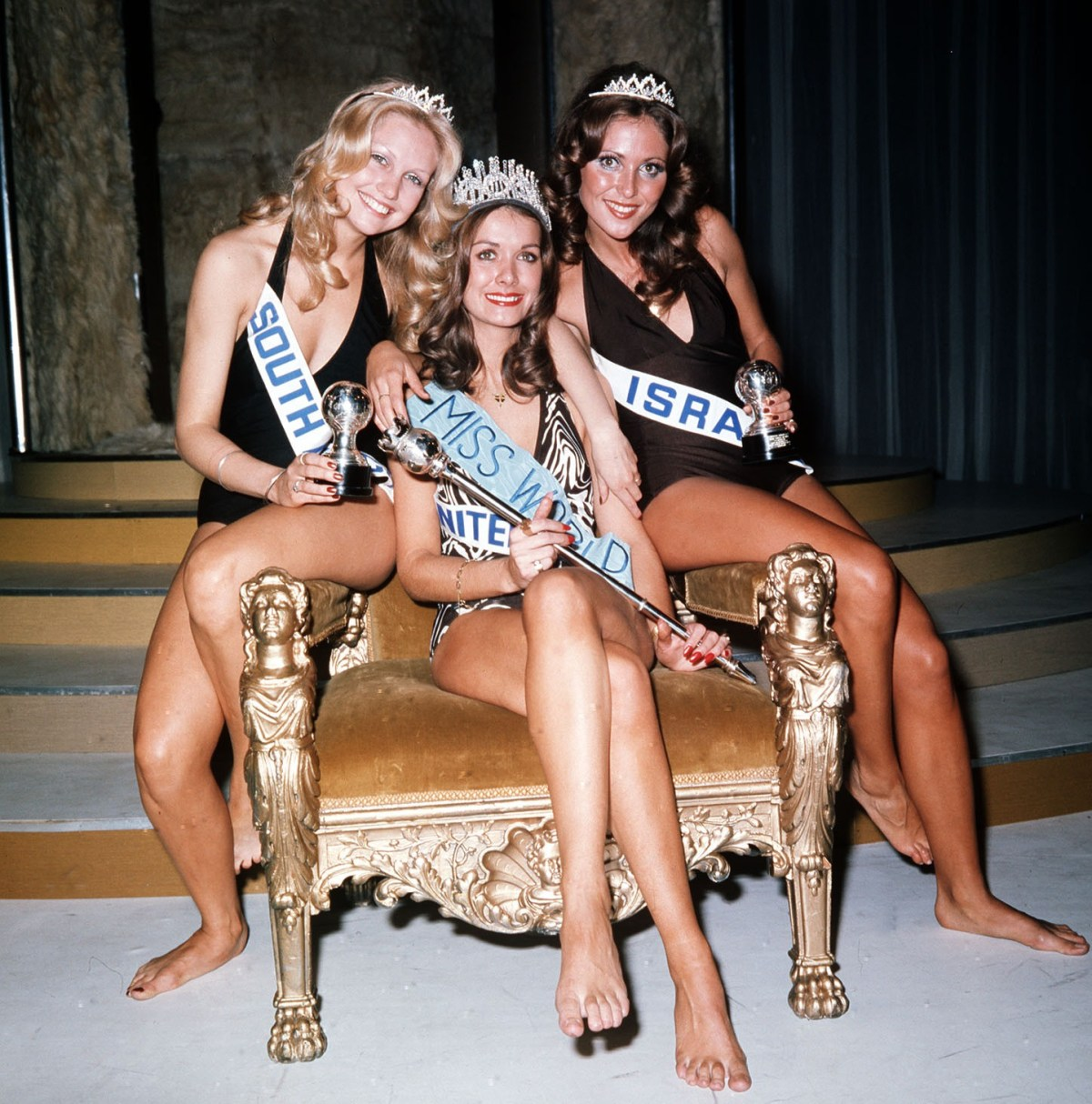 Helen, pictured after being crowned Miss World 1974, with runners-up Miss South Africa Anneline Kriel (left) and Miss Israel Lea Klein