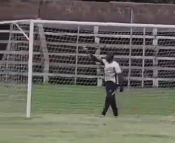 Chileshe also sprayed something around the goal