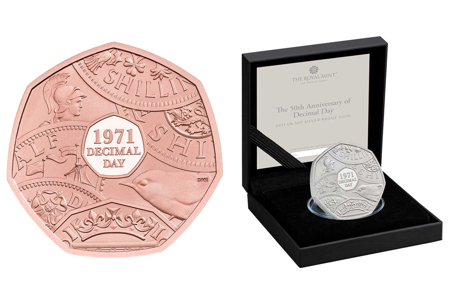 The Royal Mint has launched a commemorative set of 50p coins to mark the anniversary of Decimal Day