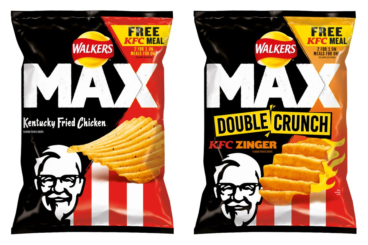 Treat yourself to a pack of new Walkers Max KFC-flavoured crisps at supermarkets from just 85p