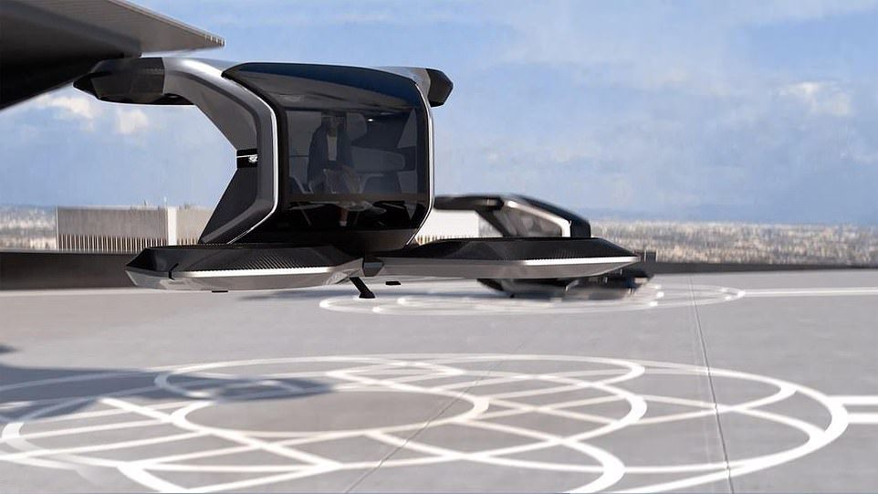 The black aircraft has a futuritic look to it