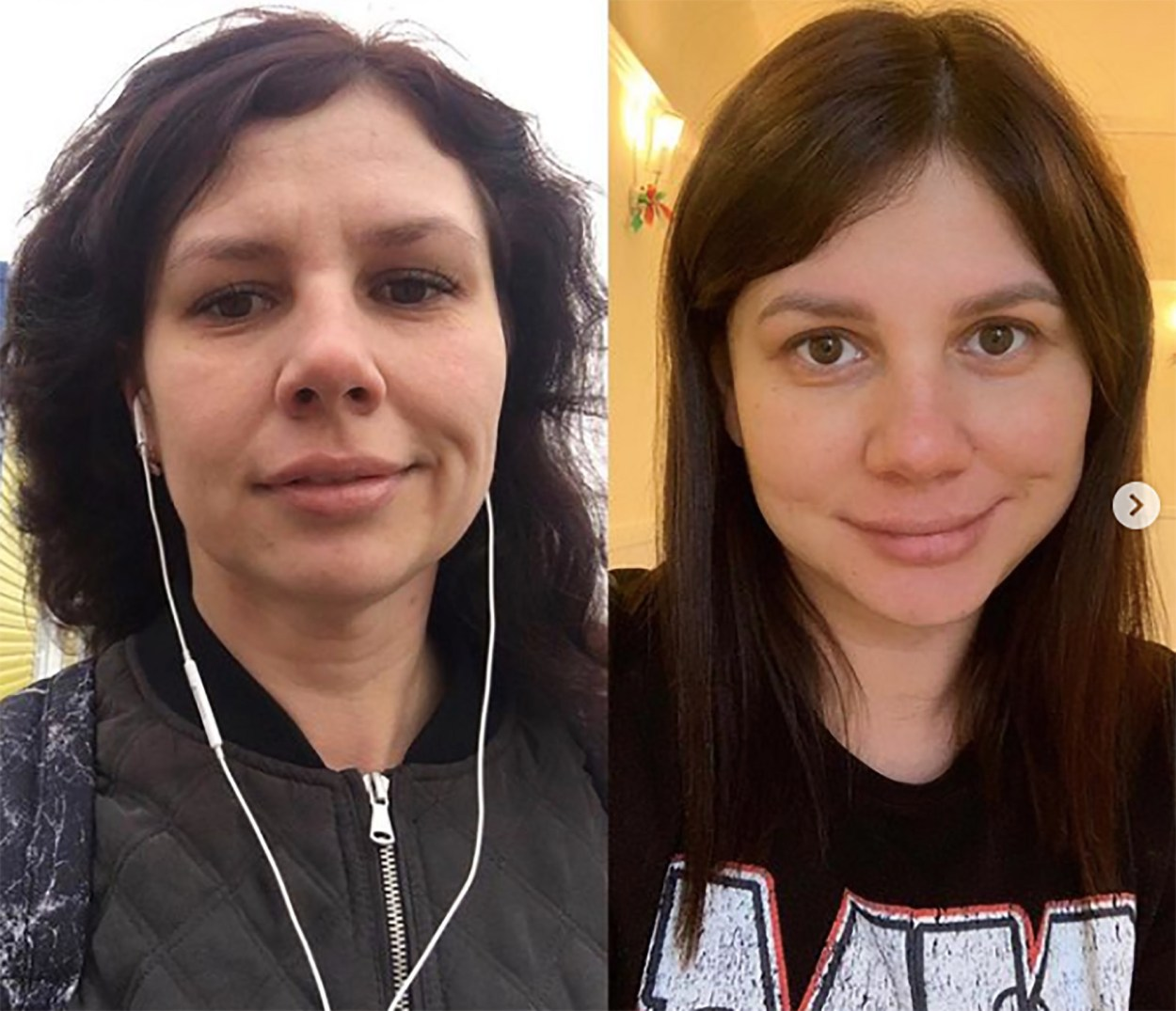Marina Balmasheva showing photos of her before (left) and after (right) plastic surgery to make her attractive to her step-son whom she lusted after
