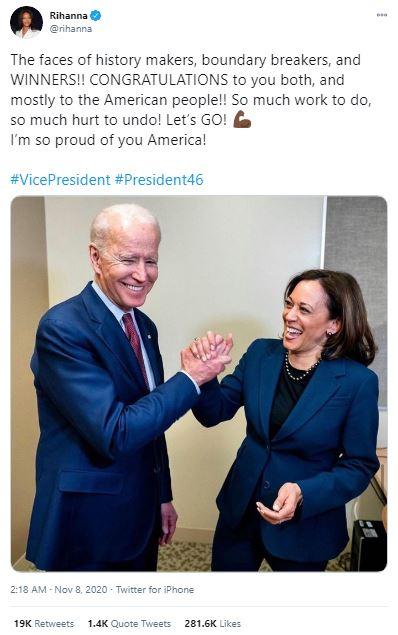 Rihanna congratulated Joe Biden on his victory in November
