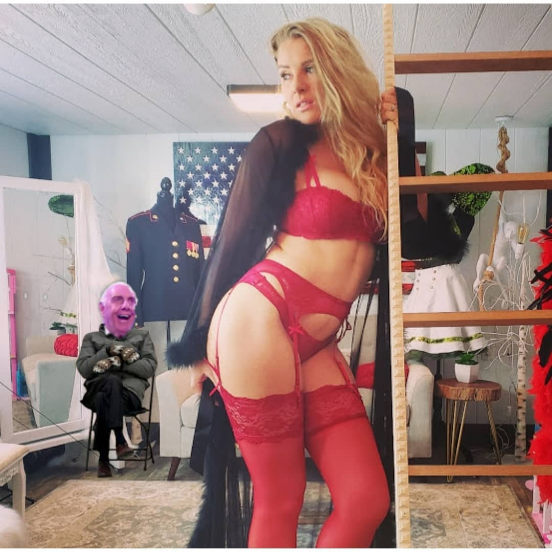 WWE star Lacey Evans stuns in sexy lingerie but fans distracted by bizarre  Ric Flair-Bernie Sanders meme in background