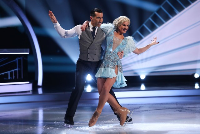 Becky on ice with partner Andy Buchanan