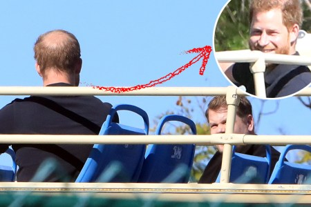 prince harry seen filming with james corden on open top bus in los angeles