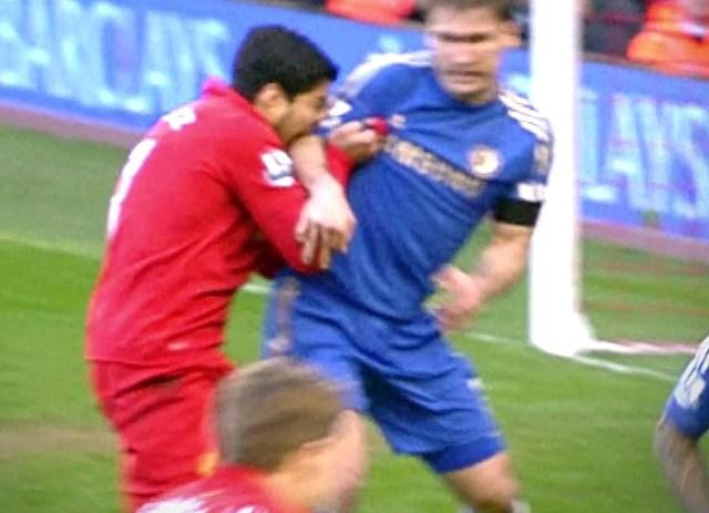 Luis Suarez infamously bit Chelsea legend Branislav Ivanovic in 2013, earning him a ten-game FA ban
