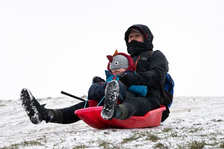 A dad took his son on a sledging trip in affluent Primrose Hill, London