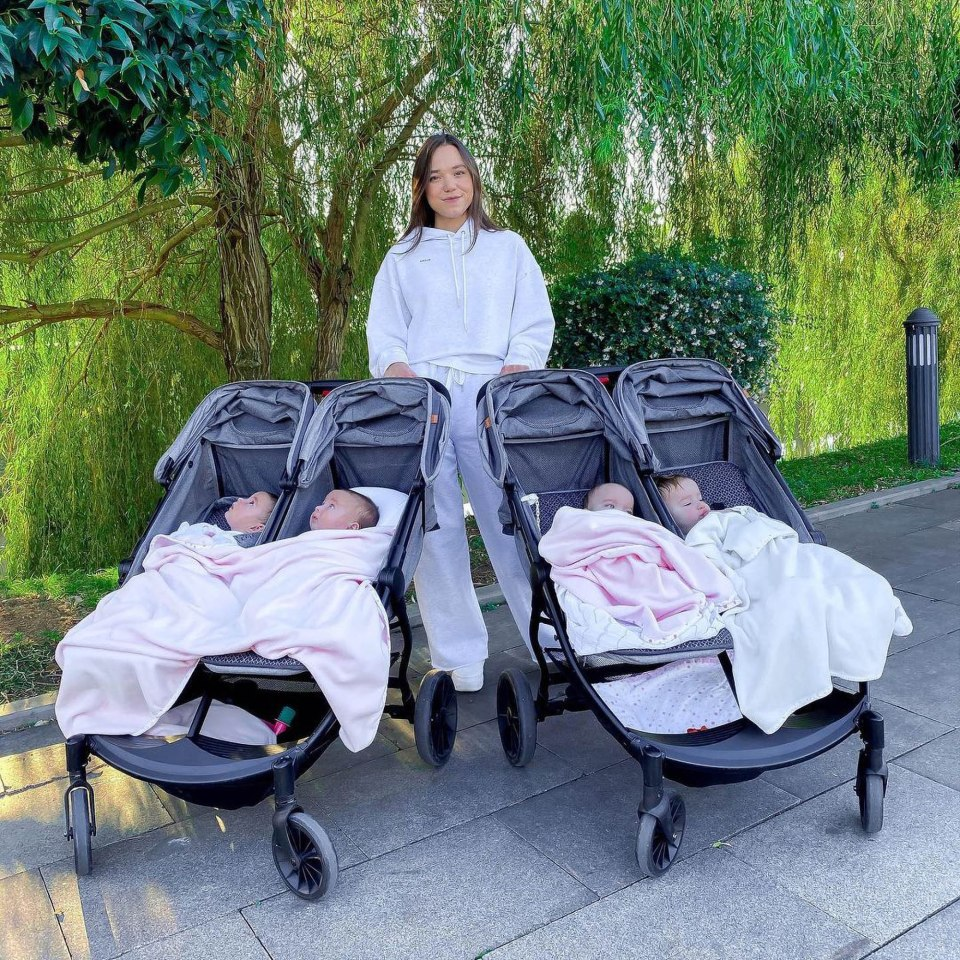 It's no walk in the park when you are pushing four babies in a pair of twin buggies, like Christina Ozturk, 23