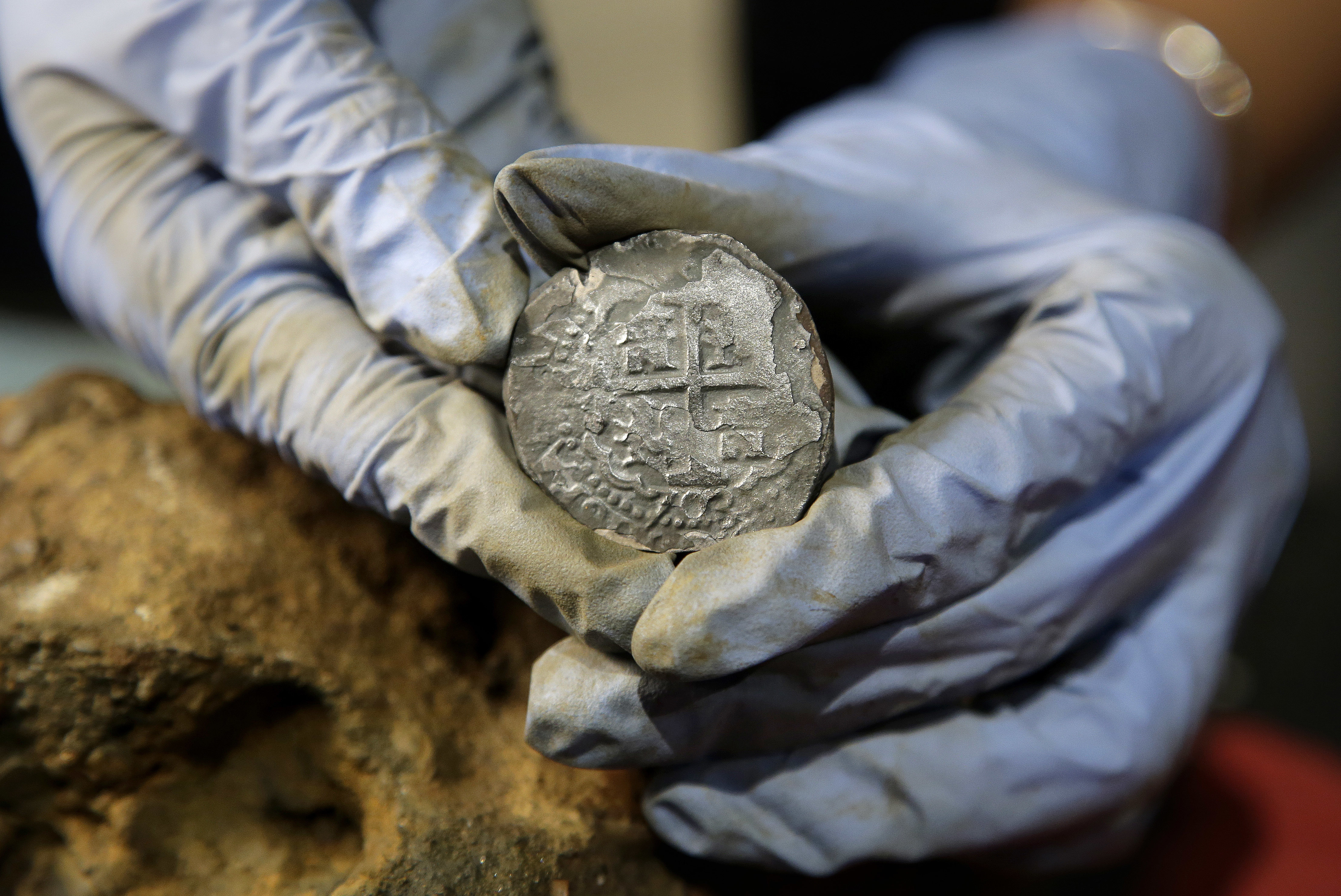 This silver coin was found on the pirate ship in 2016