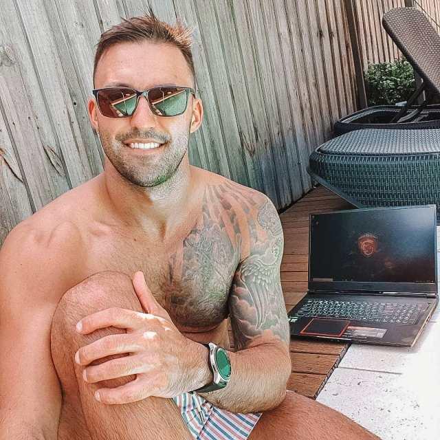 Nicolas Jovanovic can lap up the Aussie sunshine in his stunning garden
