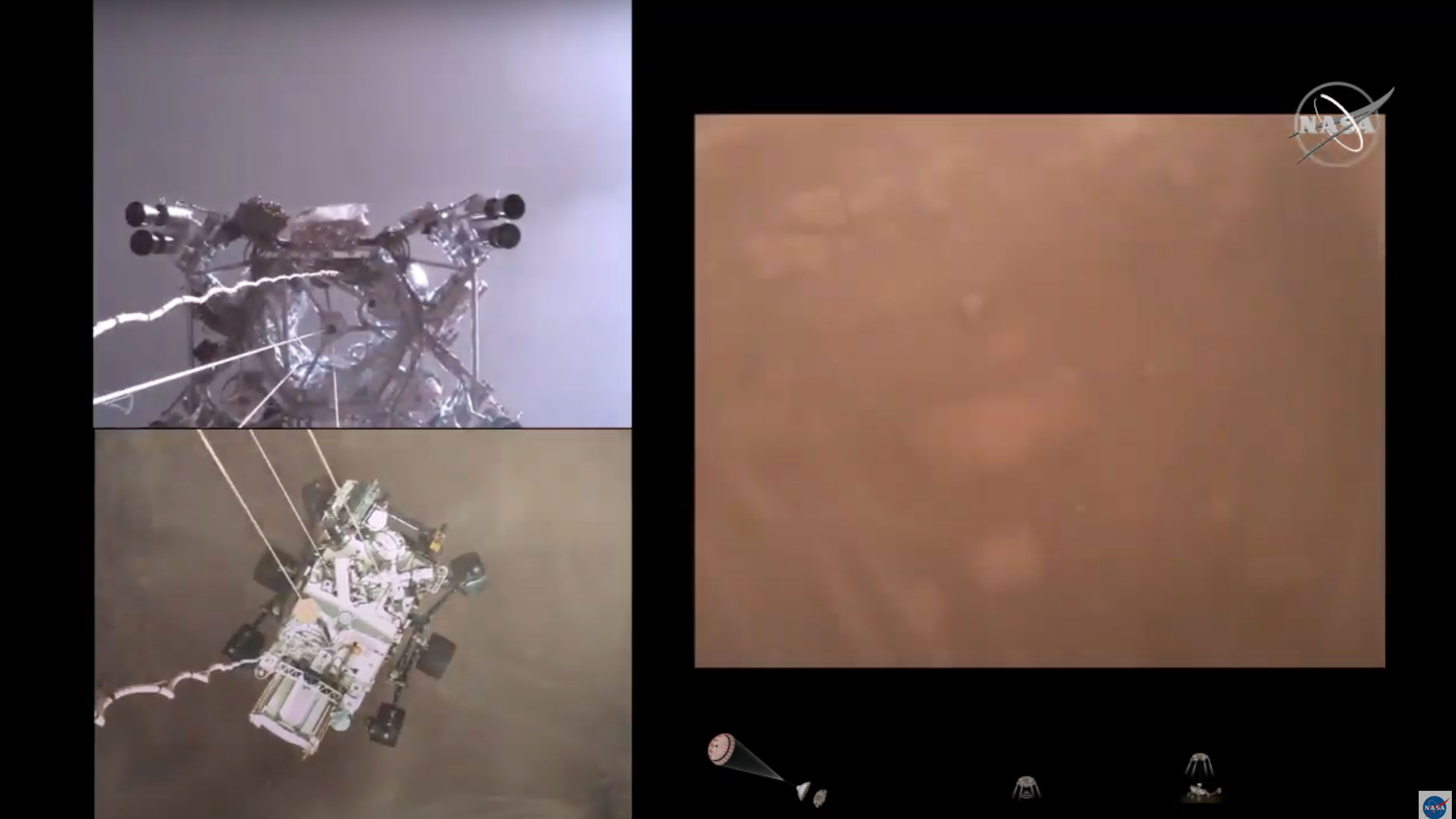 Footage of Perseverance Mars was shown by Nasa today following its successful landing on the Red Planet last week
