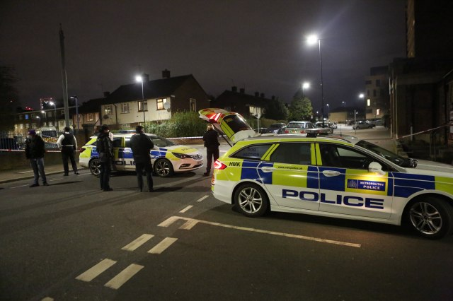 Police closed off a road after a man was stabbed earlier today