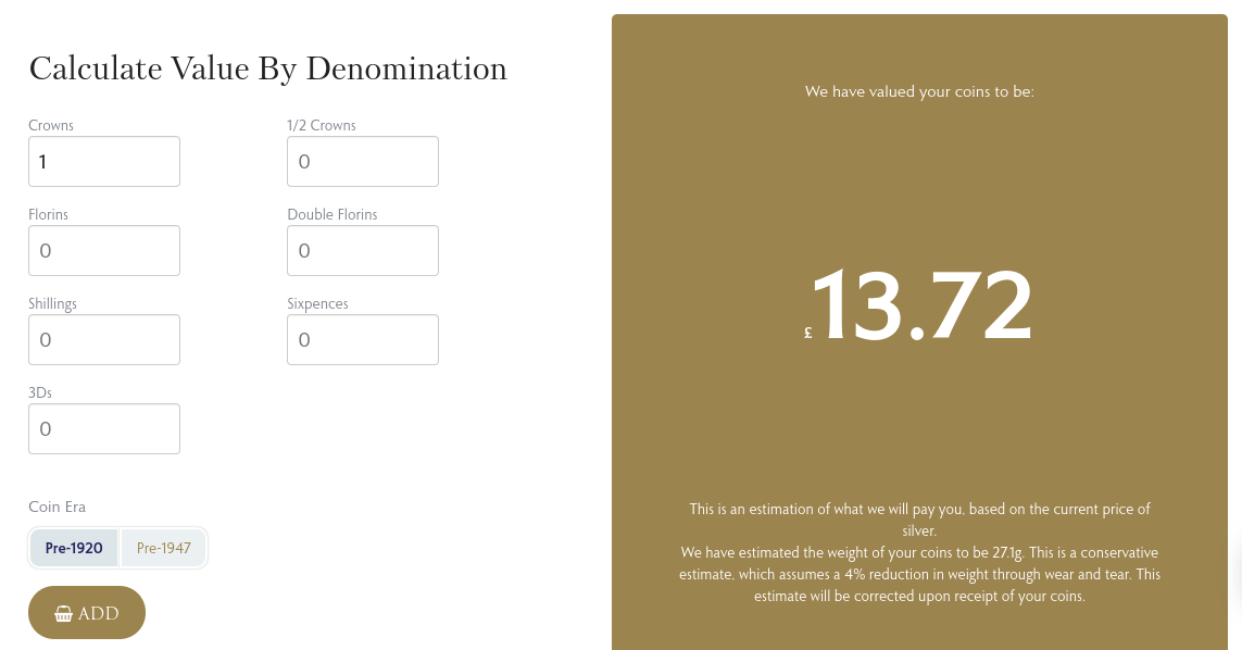 The Britannia Coin Company has a calculator to help you see what your coin is worth in terms of its silver content