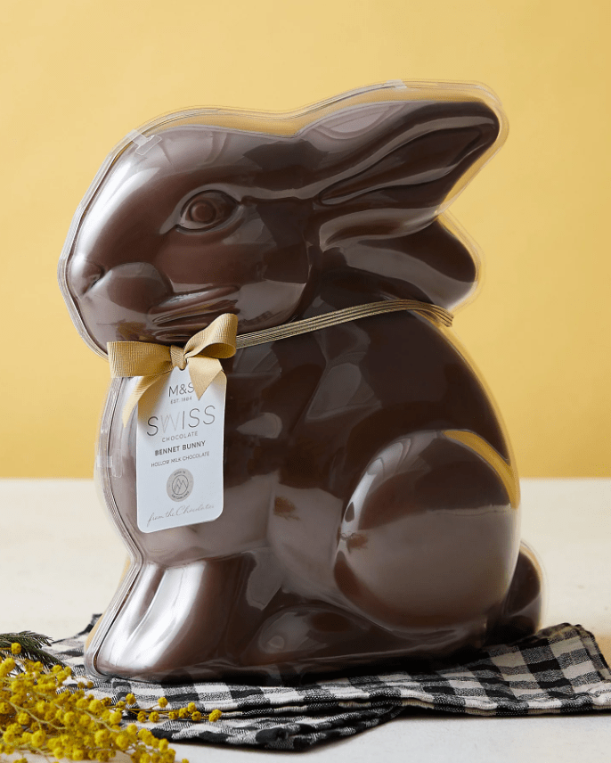 The chocolate bunnies weigh almost a kilogram at 900g
