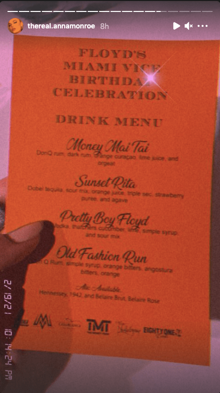 Monroe shared a picture of the drinks menu on Instagram, with options named after Mayweather