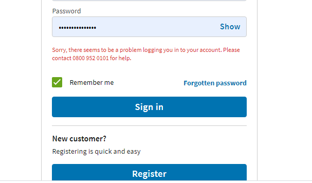 Asda shoppers got an error message when trying to log in