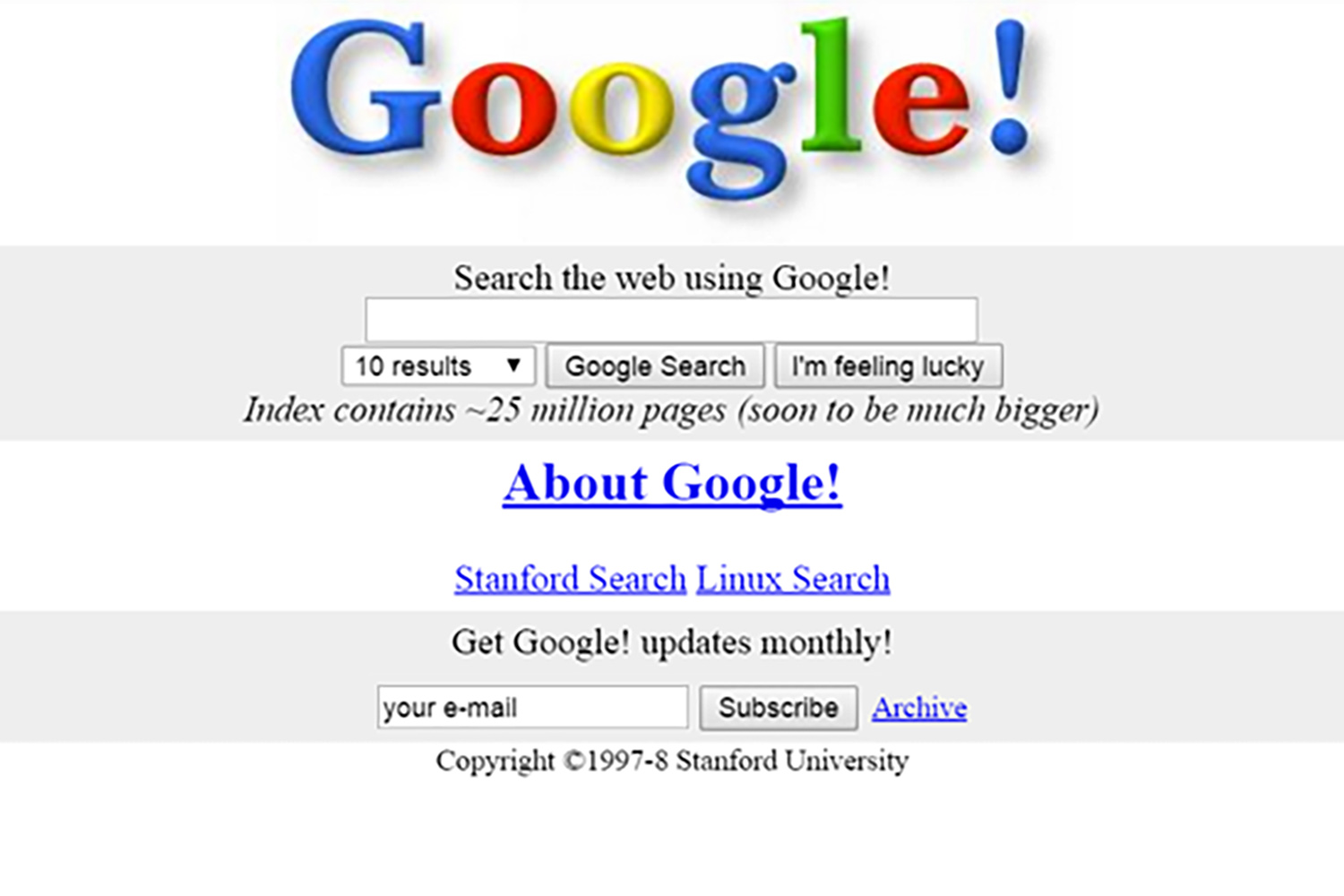 The new version is easier on the eyes than this classic Google look from the late '90s
