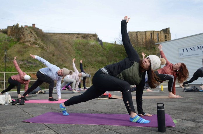Eager gym members took part in an outdoor class in Tynemouth
