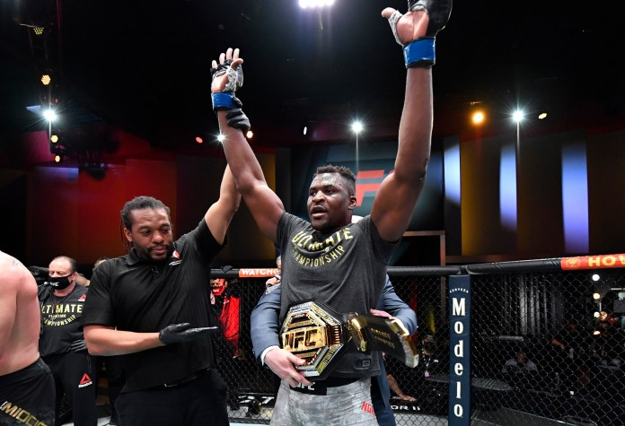 An elated Francis Ngannou celebrates his second KO victory over Stipe Miocic