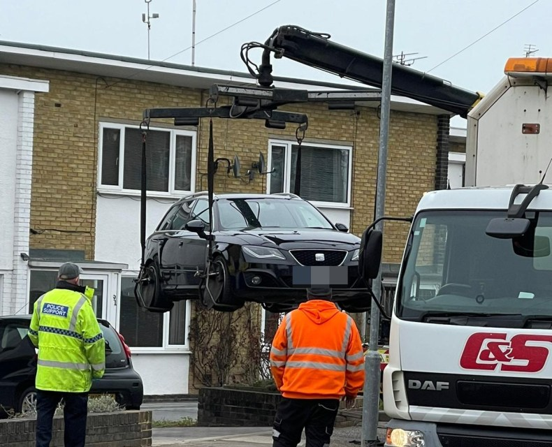 A car is seized from the Kent home as police continue to search for Sarah