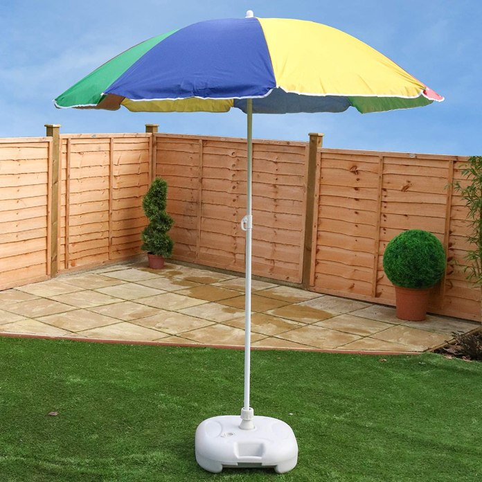 This brightly coloured parasol is just £12.35