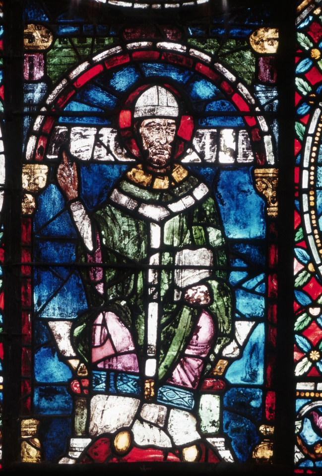A 13th century stained glass panel in Canterbury Cathedral depicts Thomas Becket, who was made a saint in 1173