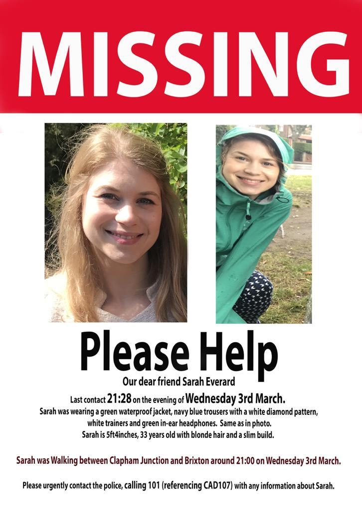 Missing posters have been issued in the bid to help find Sarah
