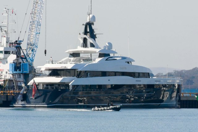 The £92million superyacht Elandess with a swimming pool and bar arrived in Britain