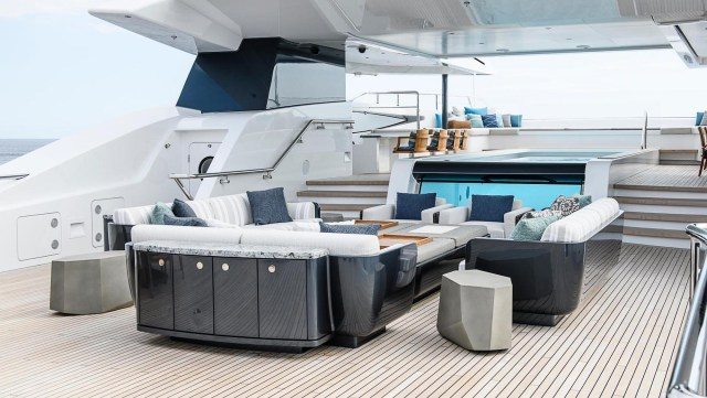 The 240ft long vessel is fitted with a bar and has a crew of 24