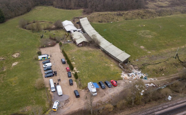 Aerial picture of Met Police conducting searches near to the disused Great Chart Golf and Leisure attraction in Ashford