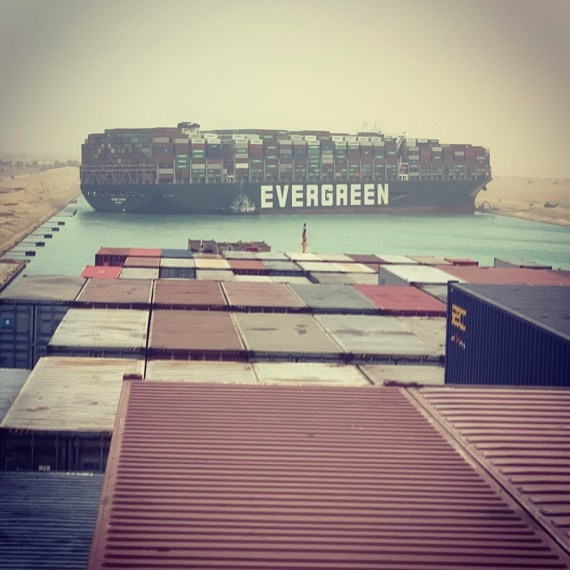 The Ever Given ship turned sideways in the Suez Canal yesterday morning, blocking all traffic at the busy waterway